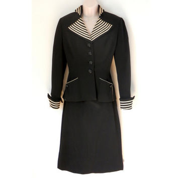 1940's Lilli Ann Suit Black and White Fitted Jacket with Pencil Skirt