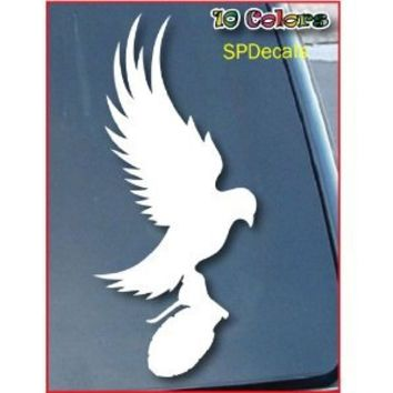 "Dove And Grenade Hollywood Undead Car Window Vinyl Decal Sticker 5"" Tall (Color: White)"