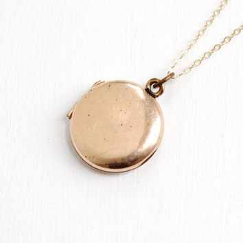 Antique Blank Small Locket Necklace- 10k Gold Filled Round Simple & Minimalist Early 1900s Art Deco Era Jewelry
