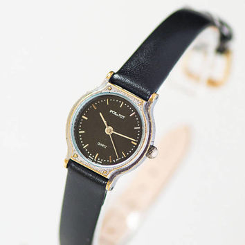 Vintage quartz watch for woman black. Small women wristwatch Poljot.  Soviet made fashion watch for girl. Minimalist watch New leather strap