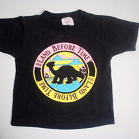 Vintage 1980s Land Before Time DINOSAUR black  paper thin black crop top tshirt XS