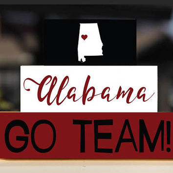 ALABAMA Team Sports, Wooden Blocks, Sports Decor, Wood Blocks Stack, Alabama Fan, College Gifts, Home Decor, Alabama Decor, Wooden Blocks