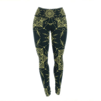 "Shirlei Patricia Muniz ""Mystic ll"" Green Abstract Yoga Leggings"