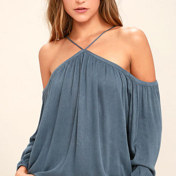 Feelin' Divine Denim Blue Off-the-Shoulder Top
