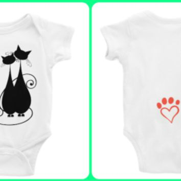I Love You MEOW and Forever Cats/Paw Heart  Personalized Long or Short Sleeve Onesuit