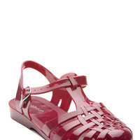 Oxblood Glossy Jelly Flat Sandals