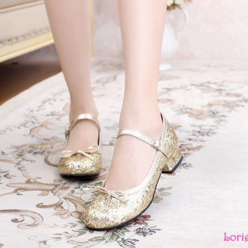 Homecoming Sweet Girl Comfortable Round Toe Square Low Heel Shiny Gold Mary Jane Ballet Shoes Princess Lolita  back to school