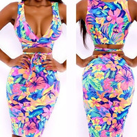 Celeb Neon Floral Print Cris Cross Top + Pencil Skirt Clubwear Bandage Dress = 5698924225