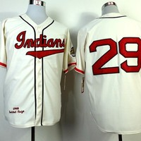Cleveland Indians #29 Satchel Paige m&n cream Throwback Stitched Jerseys Mitchell and Ness MLB Baseball Jersey