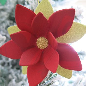 Red Poinsettia Ornament, Oil Swirl Print Paper Flower Hanging Decoration, Christmas Tree Decor