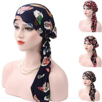 Cheap 2017 New Spring Women Printing Cancer Chemo Hat Beanie Scarf Turban Colorful Head Wrap Cap Skullies & Beanie