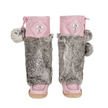 Bubblegum Pink Suede Mukluks with White Embroidery