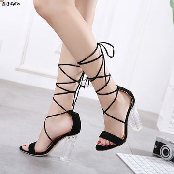 Women Fashion Lace Up Sandals Sexy Transparent Thick High Heels Black Summer Party Shoes Pumps ZGa8-10