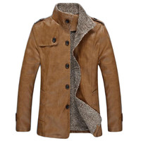 Men's autumn winter Leather Jacket,Black Brown Khaki solid color Faux Fur Coats Slim Youth Motorcycle Jacket