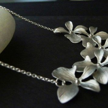 Sale 20% off-silver cascading orchid necklce-silver orchid necklace-orchid necklace-cluster orchid necklace-silver hydrangea neckla