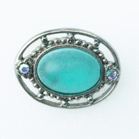 Vintage Silver and Blue Oval Glass Earrings