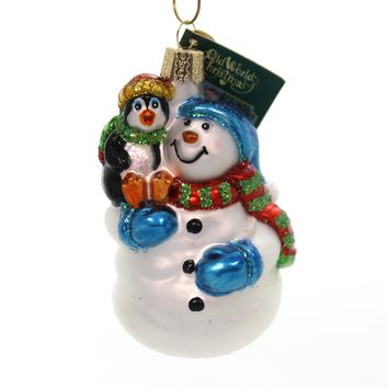 Old World Christmas SNOWMAN WITH PENGUIN PAL Glass Ornament Frosty 24181