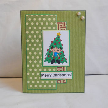 Christmas Card, Paper Handmade Greeting Card, Merry Christmas, Christmas Tree, Happy Holidays, Season Greetings, Blank Card, Green