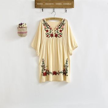 New 2018 Spring Summer Vintage 70s Mexican Ethnic Floral EMBROIDERED Hippie Blouse DRESS Women Clothing Vestidos S M L Plus Size