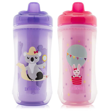 Dr Brown's BPA Free 2 Pack 10 Ounce Hard Spout Transition Cup - Koala and Bunny