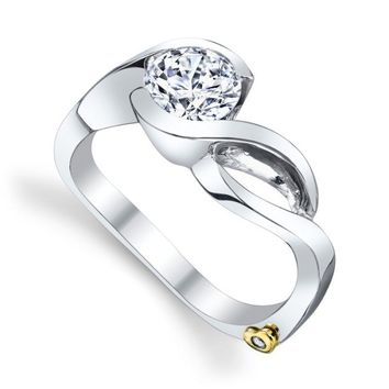 Mark Schneider Fire 1cttw half bezel set diamond engagement ring