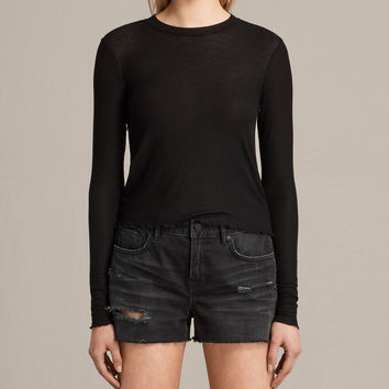 ALLSAINTS UK: Womens Bea Crop Tee (Black)