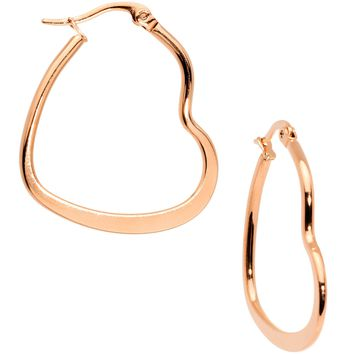 30mm Rose Gold Tone PVD Stainless Steel Heart Hoop Earrings
