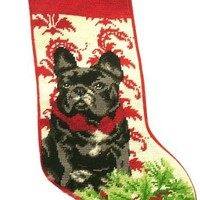 Festive Black French Bulldog Dog Wool Needlepoint Christmas Stocking - Exclusive Design by For the Love of Dogs