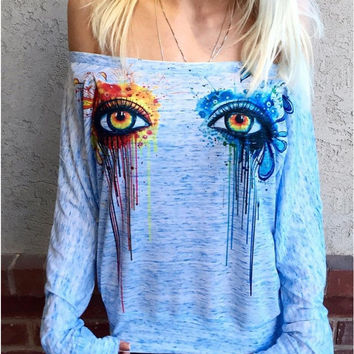 Graphic Print Off-Shoulder Sweatshirt