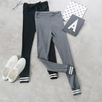 Fashion Casual Tight Waist stripe Nine Points Leggings