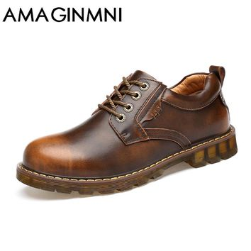 AMAGINMNI Men Fashion Boots EU Durable Rubber Sole Man Leather Shoes Brown / Black Work Boots shoes men Superstar