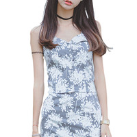 Grey Floral Crop Top Bodycon Pencil Skirt Matching Sets