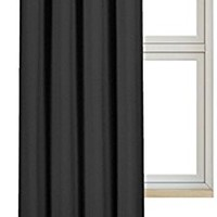 Blackout Room Darkening Curtains Window Panel Drapes - 1 Panel, 52 inch wide by 84 inch long each panel, 8 Grommets / Rings per panel, 1 Tie Back included - by Utopia Bedding (Black)