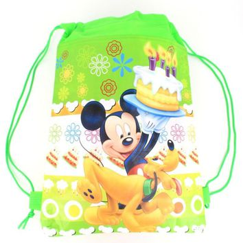 green Cartoon drawstring children's school bags, kids birthday party Favor, Mochila escolar, school kids backpack55