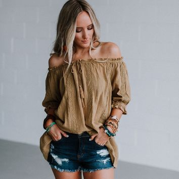 Martina Off The Shoulder Crochet Blouse - Peanut