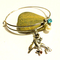 Popular Bangle Bracelets, Silver Bangle Mermaid on Dolphin Charm Bracelet, Cute Trendy Mermaid Gift