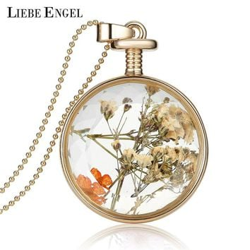 LIEBE ENGEL Women Jewelry Collares Dried Flowers Glass Necklace&Pendant Gold Vintage Long Chain Necklace Summer Fine Jewelry