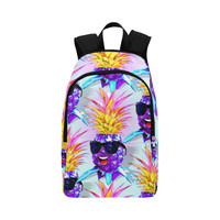 Pineapple Ultraviolet Happy Dude with Sunglasses Fabric Backpack for Adult (Model 1659) | ID: D2768663