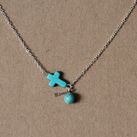 cross necklace,turquoise necklace,short necklace,snake,bridesmaids wedding gift,personalized love gift,besties sisiters gift