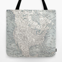 North America Map Tote Bag, travel historic  theme tote, everything bag, allover print, gift for mom, teacher,  beach bag, travel bag