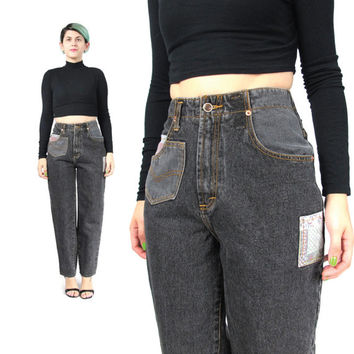 90s Grunge Patchwork Jeans Black High Waist Jeans 90s Mom Jeans Denim Hip Hop Jeans 25 Inch Waist Vintage Womens Carpenter Pants (XS/S)