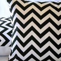 Throw Pillow cover Black and white Chevron, 18 X 18,