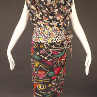 EMANUEL UNGARO-1990s 2pc Floral Silk Dress, Size-6