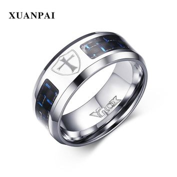 XUANPAI Knight Templar Rings For Men Stainless Steel Shield Cross Pattern Carbon Fiber Material Black Blue Color Male Jewelry