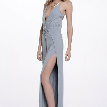 (alq) Open sides plunging water gray jumpsuit