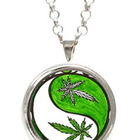 Marijuana Yin Yang Balance Bud Silver Pendant with Chain Necklace