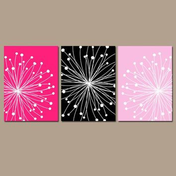 DANDELION Wall Art,  Hot Pink Black Bedroom Decor, Dandelion Pictures, CANVAS or Prints, Floral Bathroom Decor, Dorm Decor, Set of 3