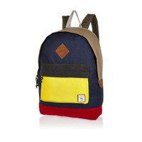 River Island MensNavy color block Bellfield backpack