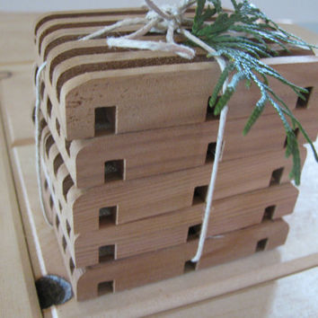 "Soap deck, Soap saver. Five all natural western red cedar. 2 3/4"" x 3 3/4"""