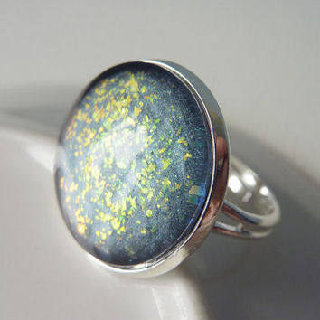 Glitter Ring, Adjustable Ring, Holographic Glitter Flakes